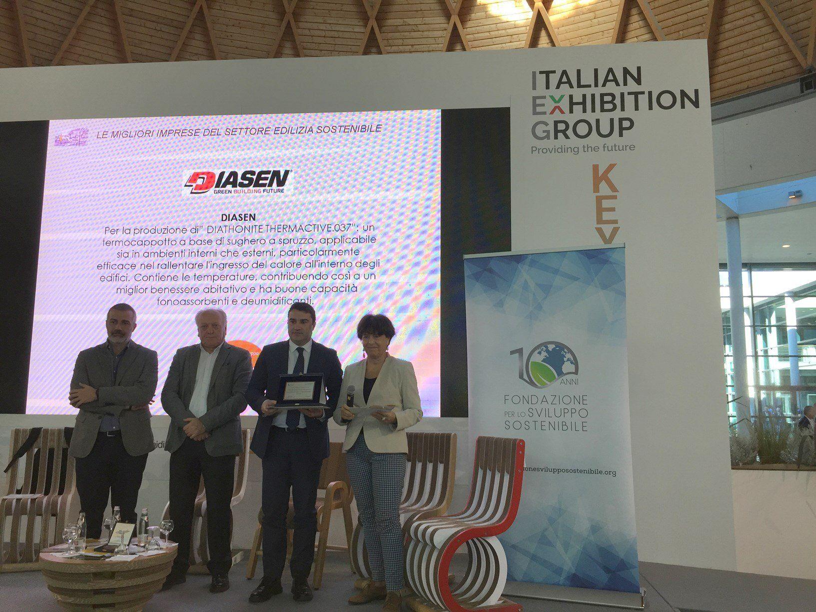 Diasen premiata ad Ecomondo come eccellenza italiana nel settore dell'edilizia sostenibile
