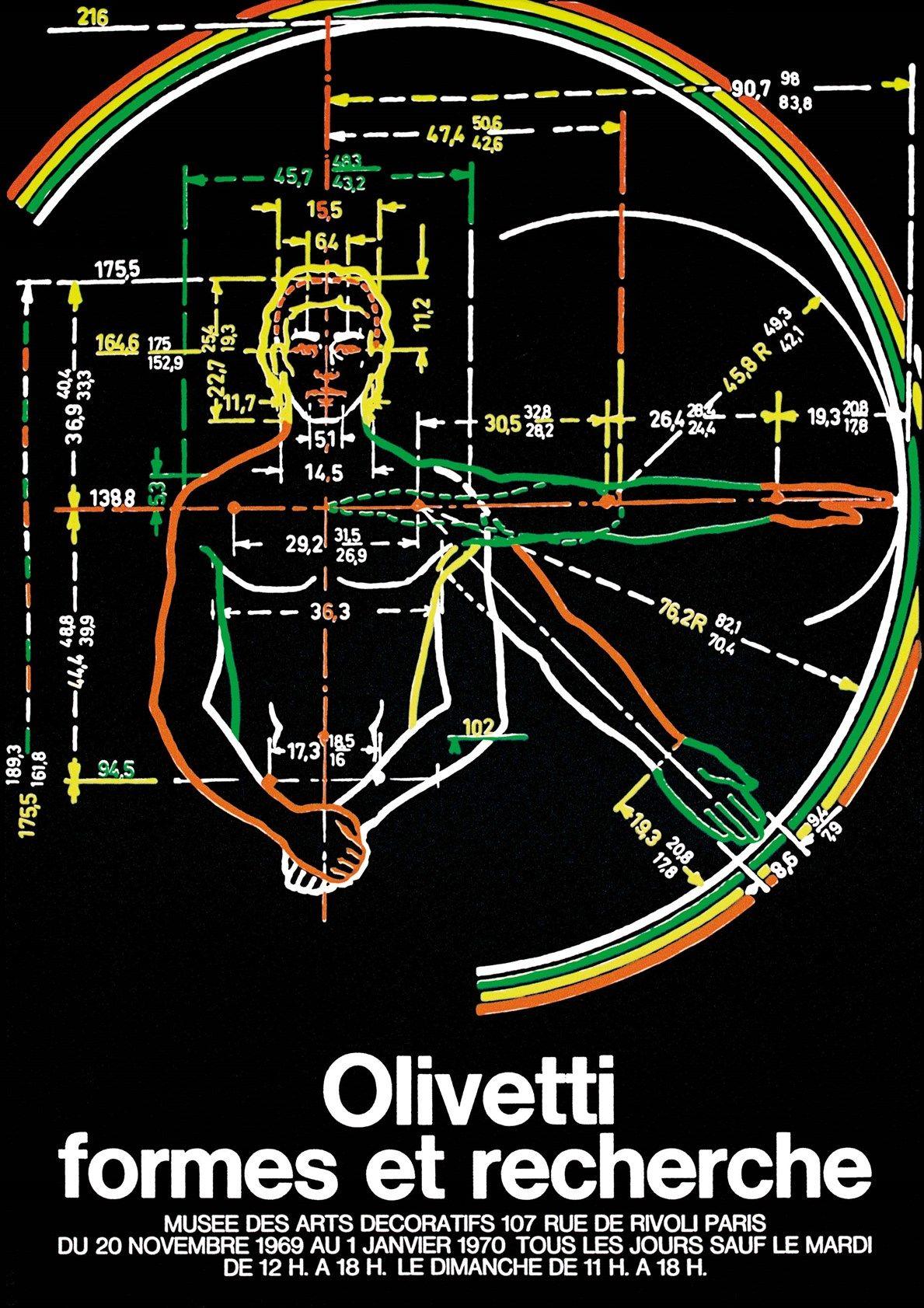 C.T. Castelli e R. Pieracini (Studio Sottsass jr.), manifesto della mostra Olivetti formes et recherche, Parigi, Musée des Arts Décoratifs, 1969