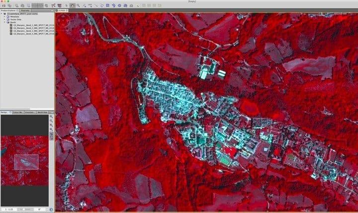 Foto: Amatrice, post-sisma 08-2016, immagine multispettrale Plèiades (Airbus France) in falso colore. Fonte: http://www.enea.it