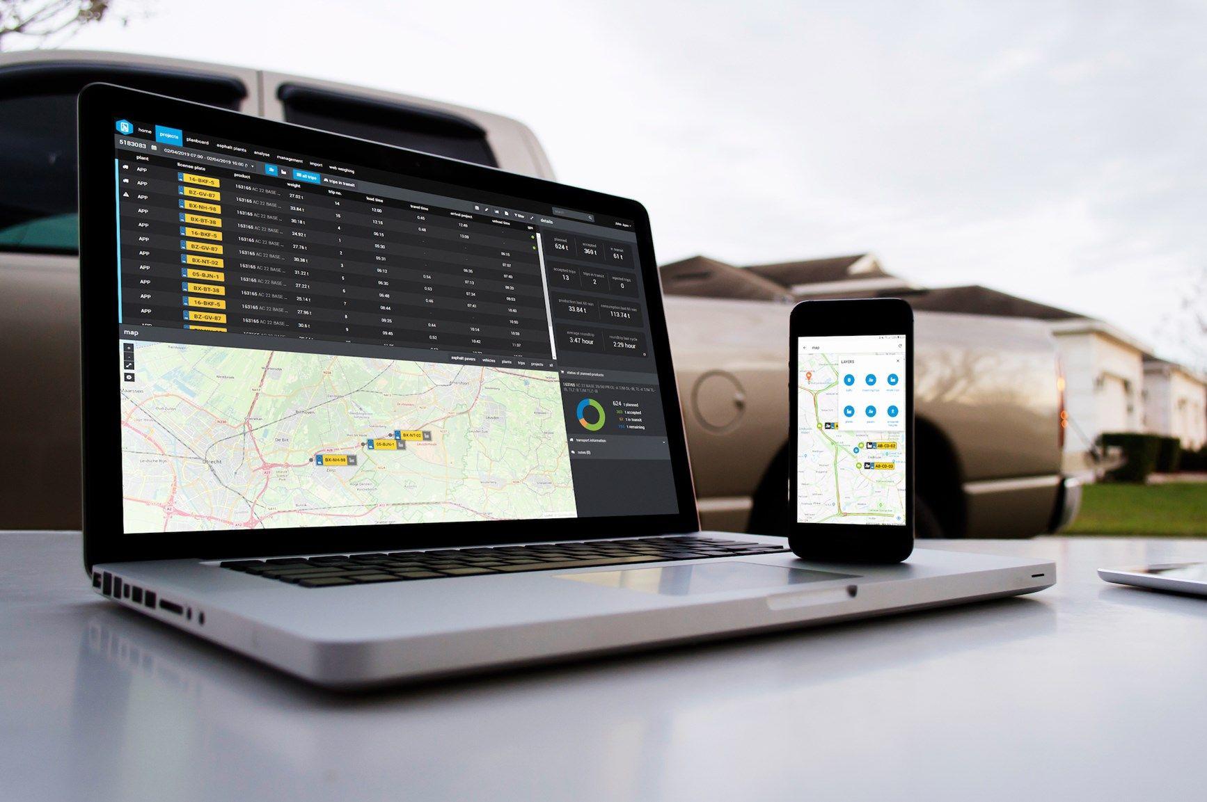 Topcon presenta un'applicazione di logistica  connessa al cloud per le asfaltature