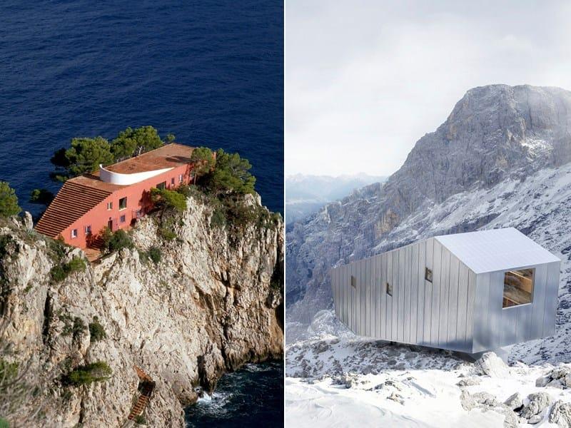 Adalberto Libera, Casa Malaparte, Capri - Photo Andrea Jemolo e DEMOGO, Bivacco Fanton, Dolomiti (BL), 2015 - Photo Pietro Savorelli