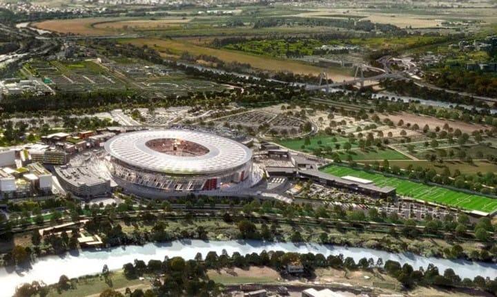 Progetto del nuovo stadio della Roma. Immagine tratta da: stadiodellaroma.com