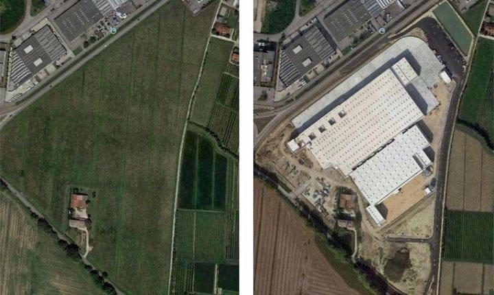 Un esempio di consumo di suolo per la realizzazione di una nuova area industriale in Veneto. Fonte: Rapporto ISPRA SNPA 2019