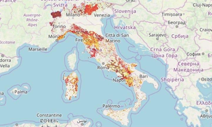 Mappa della pericolosità frana PAI - tratta da rendis.isprambiente.it