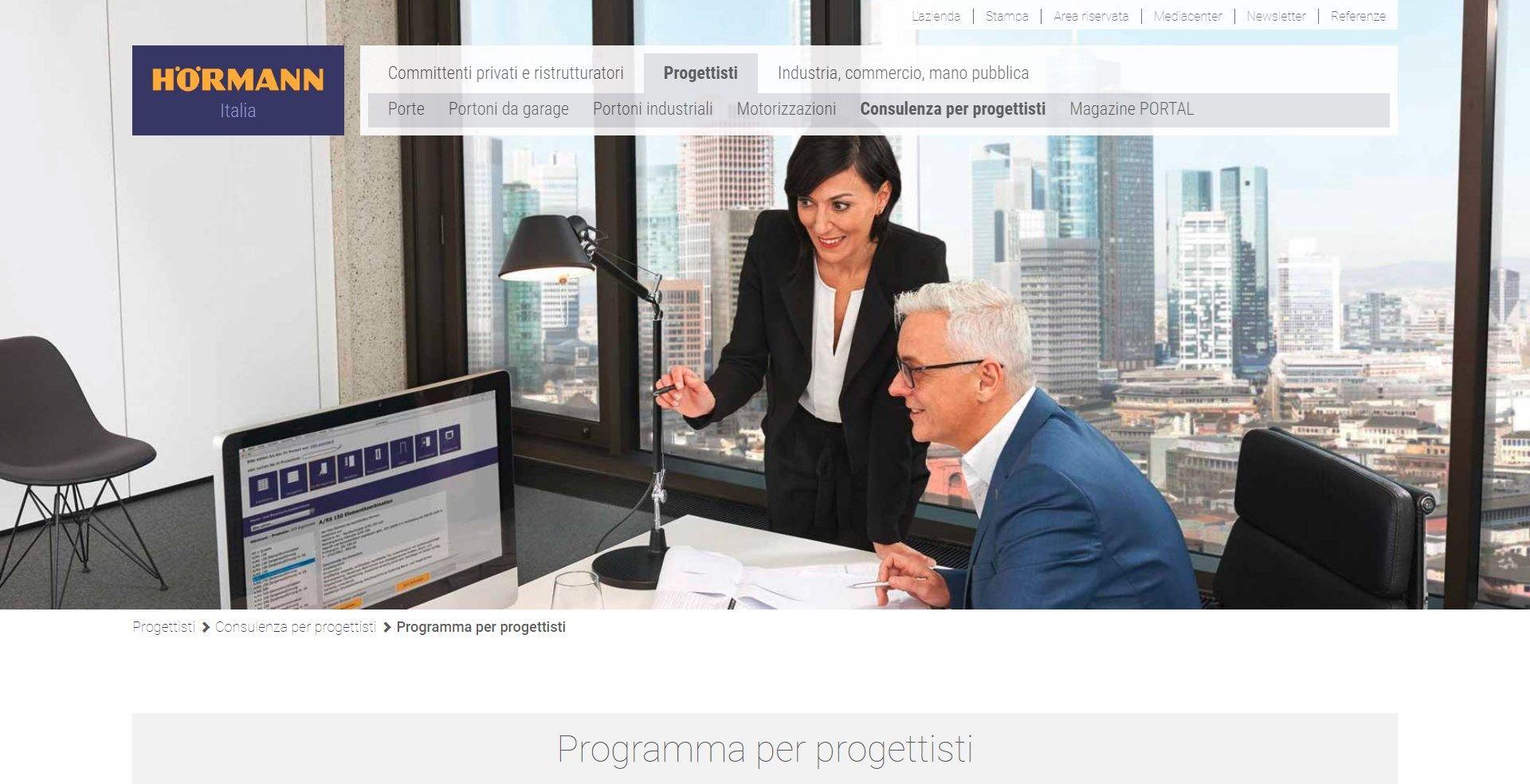 Online la nuova versione  del 'Programma per Progettisti' Hörmann