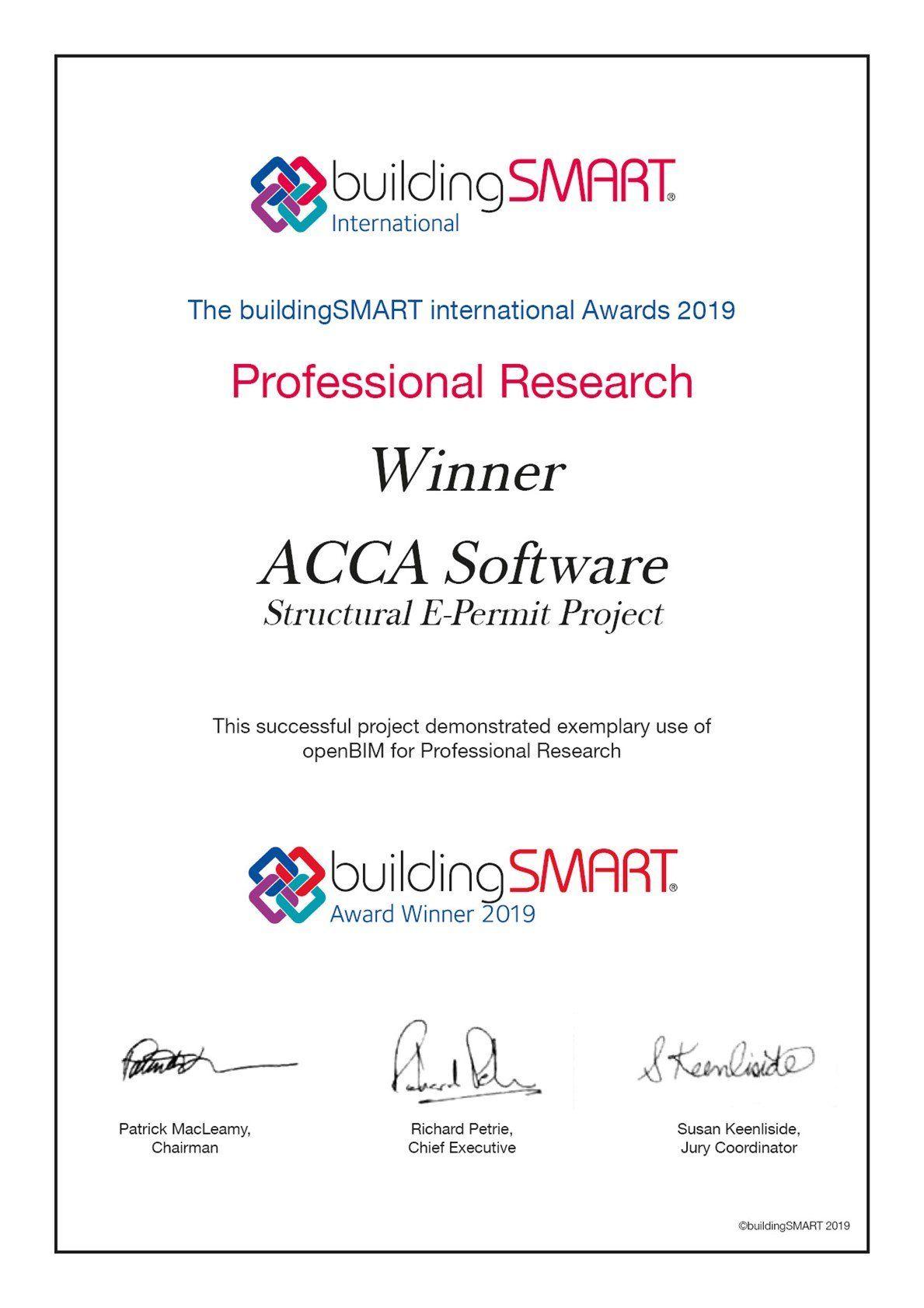 ACCA vince il prestigioso premio buildingSMART International 2019