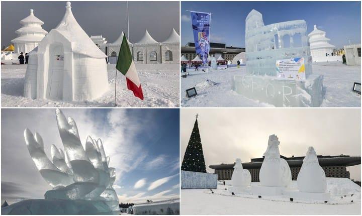 Esportare l'architettura e la scultura con le opere di neve e ghiaccio