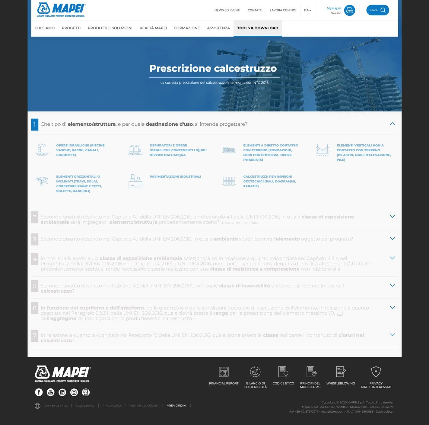 Mapei presenta il primo tool per la prescrizione del calcestruzzo  in accordo alle Norme Tecniche per le Costruzioni 2018