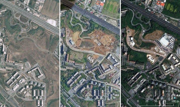 """Consumo di suolo a Colle Salario, Roma (immagini del 2000, 2018 e 2020). Rapporto ISPRA SNPA """"Il consumo di suolo in Italia 2020"""""""
