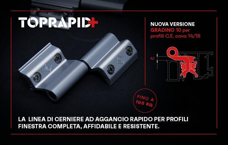 Con la versione Camera Europea gradino 10, Master Italy estende la gamma delle cerniere Top Rapid