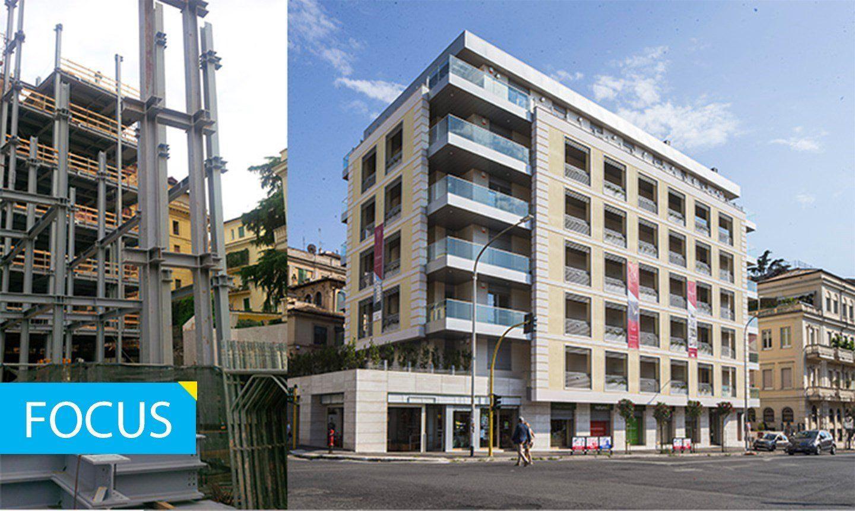 Edilizia residenziale multipurpose. CANTIERE e FINITO, sostituzione edificio esistente. Palazzo Pitagora, RM, ©Pichler Projects, Bioedil Progetti