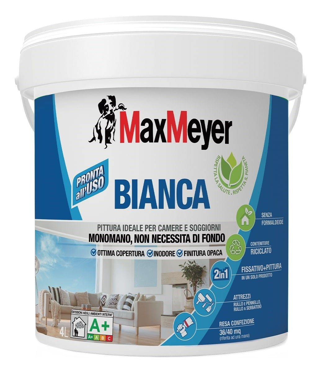 MaxMeyer presenta 'Bianca', la pittura monomano per camere e soggiorni