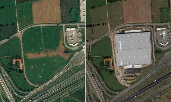 Realizzazione di un polo logistico di 4,9 ettari a Mesero (Milano). A sinistra l'area prima dei lavori (2019), a destra la stessa area nel 2020