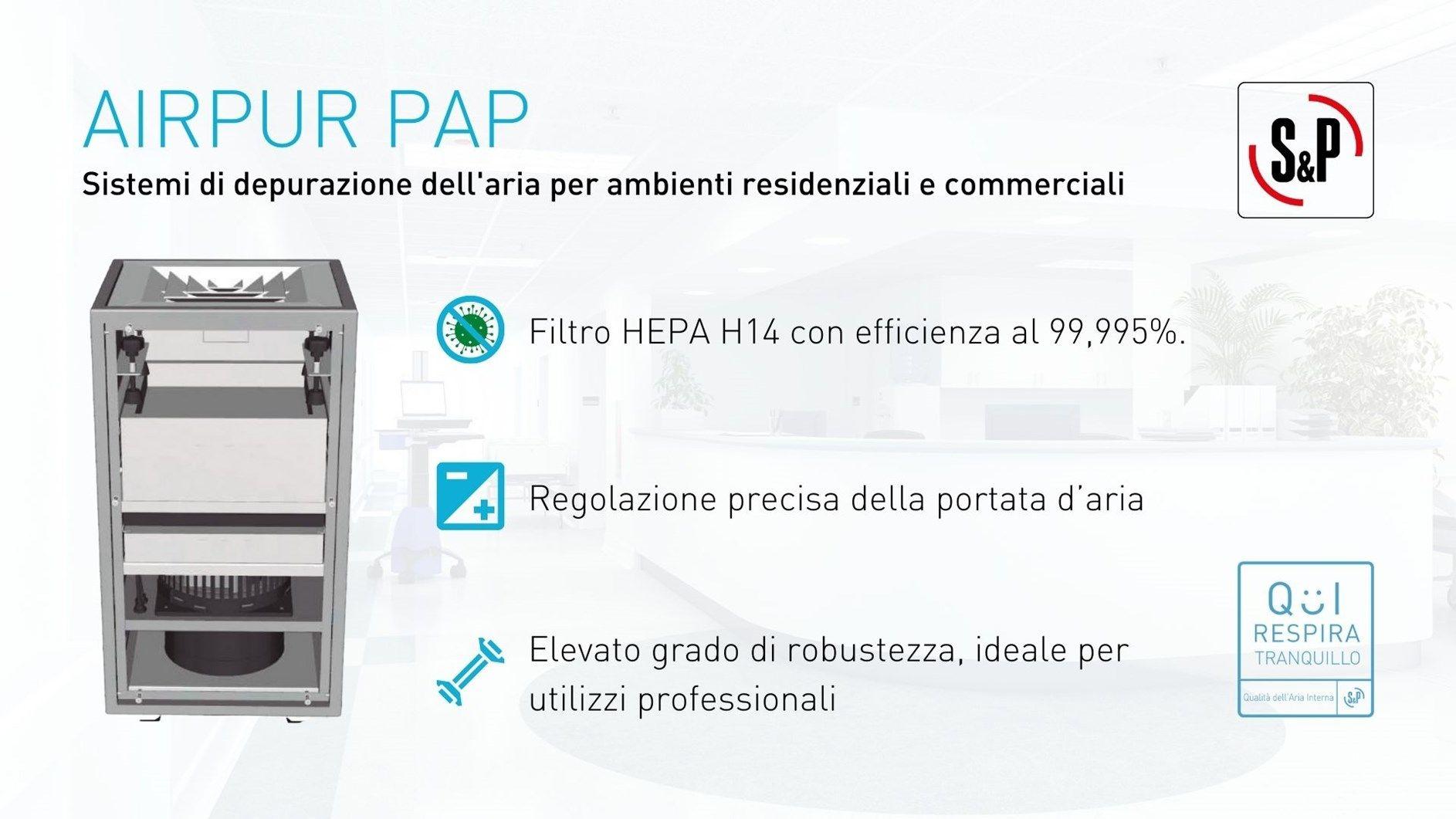 S&P, aria purificata negli ambienti chiusi con i sistemi AIRPUR PAP