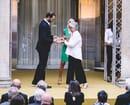 Francesco Rodriquez (FLOS R&D Manager) claims the Compasso D'Oro award
