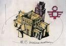 Aldo Rossi, La Macchina Modenese, 1983, disegno e pastelli su fotocopia, mm 210 x 295. Raccolta del disegno contemporaneo, Galleria Civica di Modena