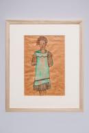 Nel Novecento Egon Schiele_Ragazza in verde con vestito verde e fiocco rosa_grafite e acquerello su carta colorata