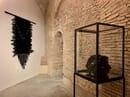 Installation View: Monica Bonvicini, Belt Balls, 2015; BeltDecke #4, 2017. Courtesy the artist & König Galerie and Galleria Raffaella Cortese