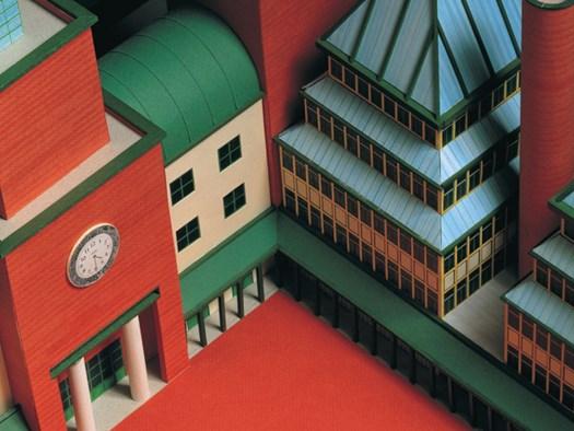 Modello di progetto per un nuovo stabile amministrativo per la UBS, Lugano, 1990. Carta, cartoncino, legno.