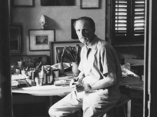 Pippo Rizzo nel suo studio di via Serradifalco, anni Cinquanta, courtesy Acrhivio Pippo Rizzo