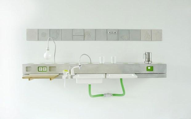 metro lineare per la cucina in cemento