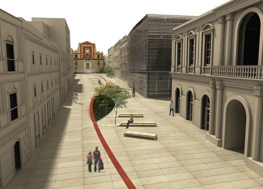 Un nastro rosso per la Grande Piazza a Caltanissetta