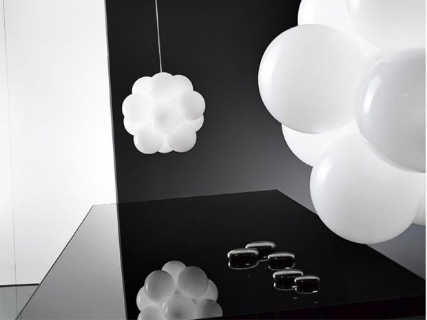 Pendant lamp original design glass babol by nicola grandesso