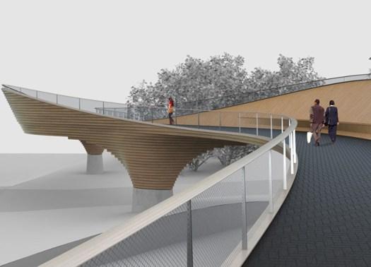 Vienna: minimalismo e legno massiccio per un nuovo ponte in centro