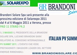 Brandoni Solare ti aspetta a Solarexpo 2011