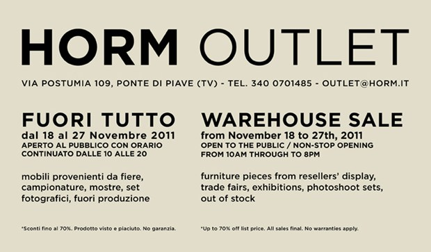 """Fuori tutto"" all'Horm Outlet"
