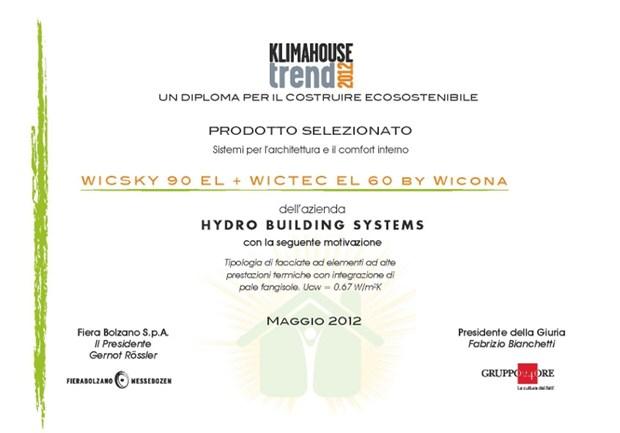 WICONA riceve il premio Klimahouse Trend 2012 per i sistemi di Facciata WICSKY 90 EL e WICTEC EL 60