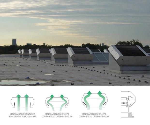 """Gli aeratori """"ognitempo"""" TM-SDR consentono il ricircolo dell'aria anche in caso di pioggia e vento"""