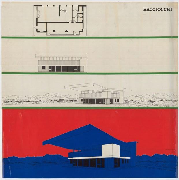 Intervento di Costantino Dardi sul modello di stazione di servizio Agip (tipo Bacciocchi, 1952), 1972 Università Iuav di Venezia, SBD – Archivio Proge