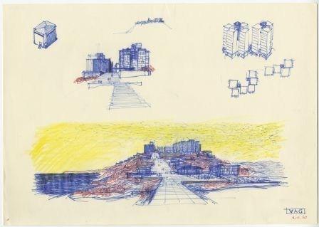 Insediamento Anic a Gela:  schizzi sulla città Università Iuav di Venezia, SBD – Archivio Progetti, Fondo Edoardo Gellner