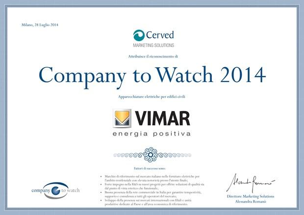Vimar si aggiudica il 'Company to Watch 2014'
