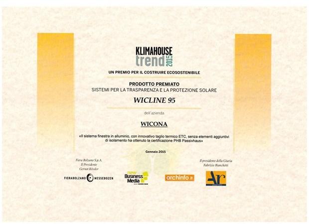 WICONA vince il premio KLIMAHOUSE TREND 2015 con la finestra WICLINE 95