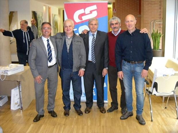 Da sinistra a destra: Valter Noro, agente Savio; Fabio Simioni; Andrea Giostra, Direttore vendita Italia Savio; Flavio Salvadori e Carlo Fabris