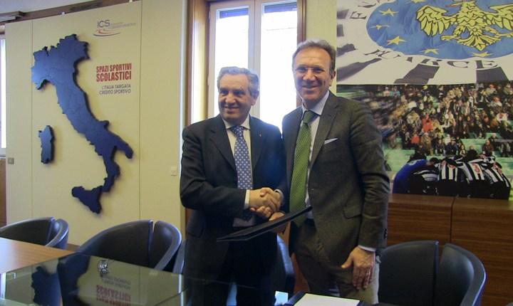 Il Presidente della Federazione Italiana Scherma Giorgio Scarso e il Commissario Straordinario dell'Istituto per il Credito Sportivo Paolo D'Alessio