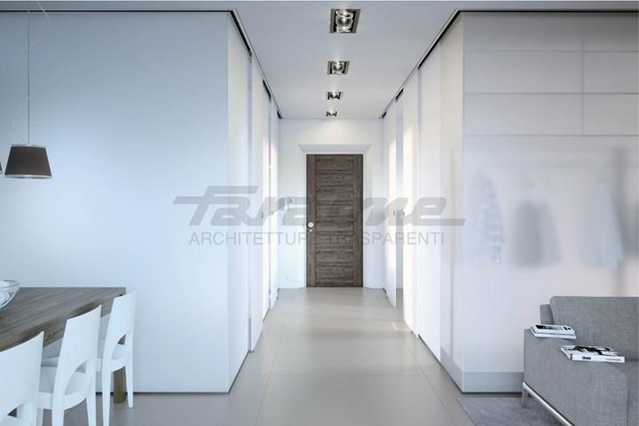 Velo, la porta scorrevole Faraone tuttovetro dal design minimale