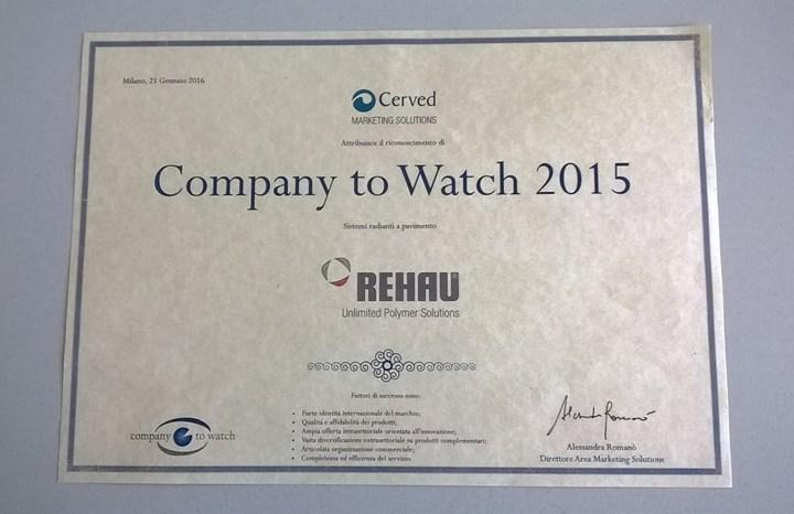 A REHAU il premio Company to Watch 2015 di Cerved per la categoria sistemi radianti a pavimento