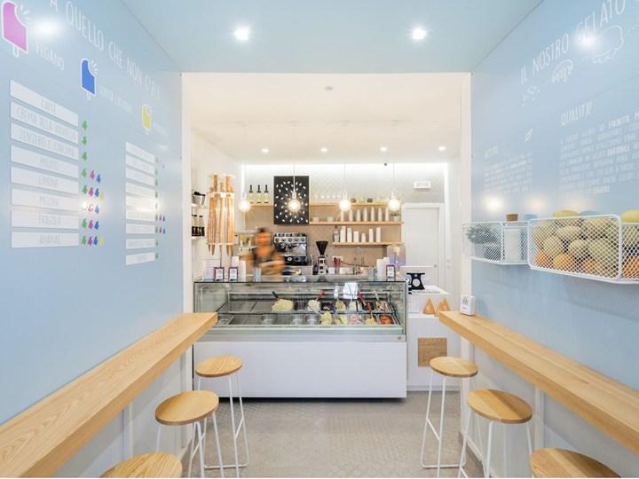 Architettura e gelato: il progetto di NINE associati in 38 mq