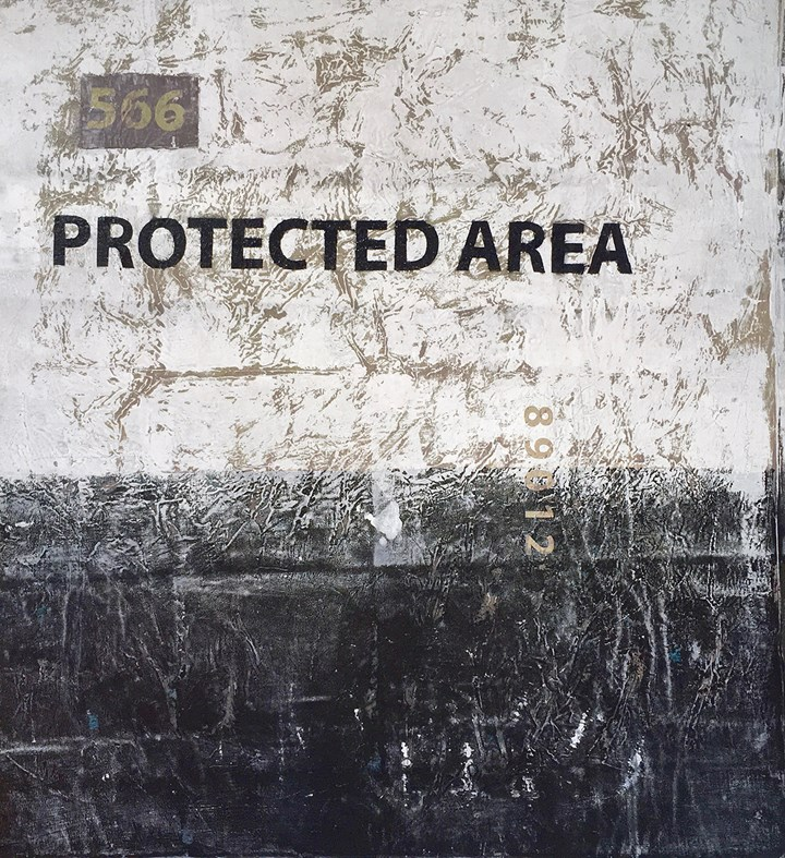 Onyis Martin 566 (Protected Area), 2016   signed, acrylic and stencil on canvas, 120x120cm Courtesy The Artist and ARTLabAfrica Photo @ARTLabAfrica