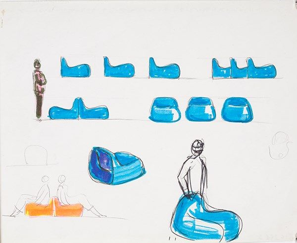 Alberto Rosselli, disegno per poltroncine in resina Jumbo, s.d. (1968), matita e pennarello su carta