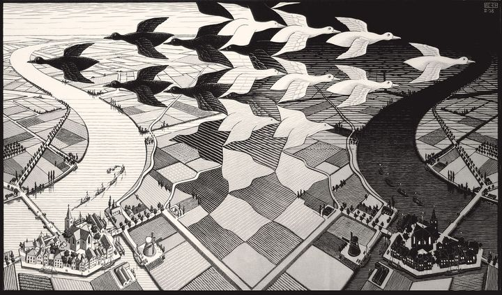 Giorno e notte, 1938 - All M.C. Escher works © 2018 The M.C. Escher Company. All rights reserved