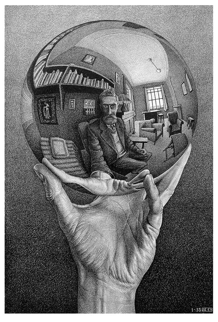 Mano con sfera riflettente, 1935 - All M.C. Escher works © 2018 The M.C. Escher Company. All rights reserved