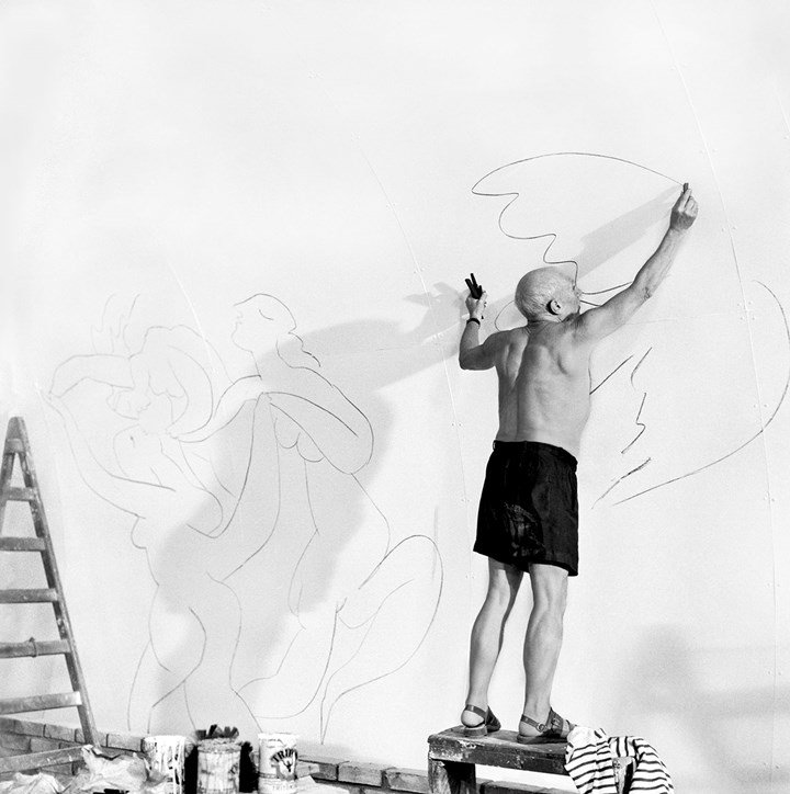 Edward Quinn, Picasso working in the Chapelle de la Paix, Vallauris 1953, Printed 2010, Hahnemuhle Baryta fine art print, 124x124cm, edition: AP III,