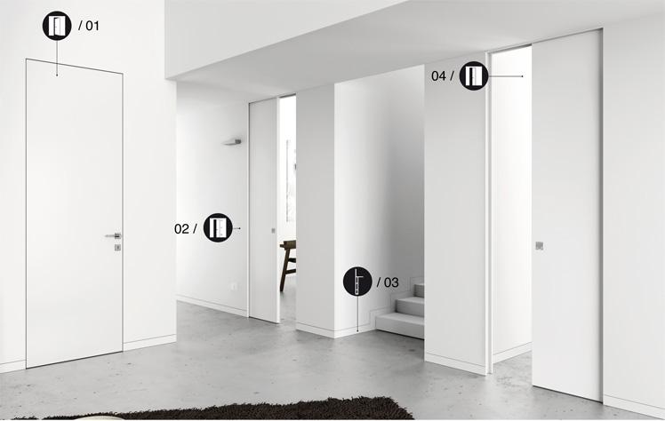 Eclisse: sistema per porte a scomparsa senza cornici, porte battenti ...