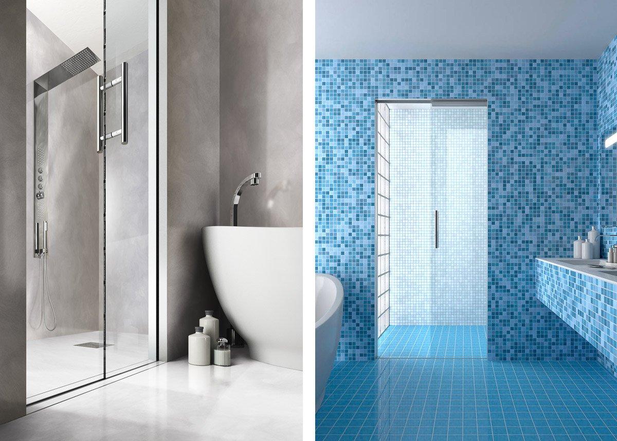 Porte scorrevoli raso pavimento per doccia essential by scrigno
