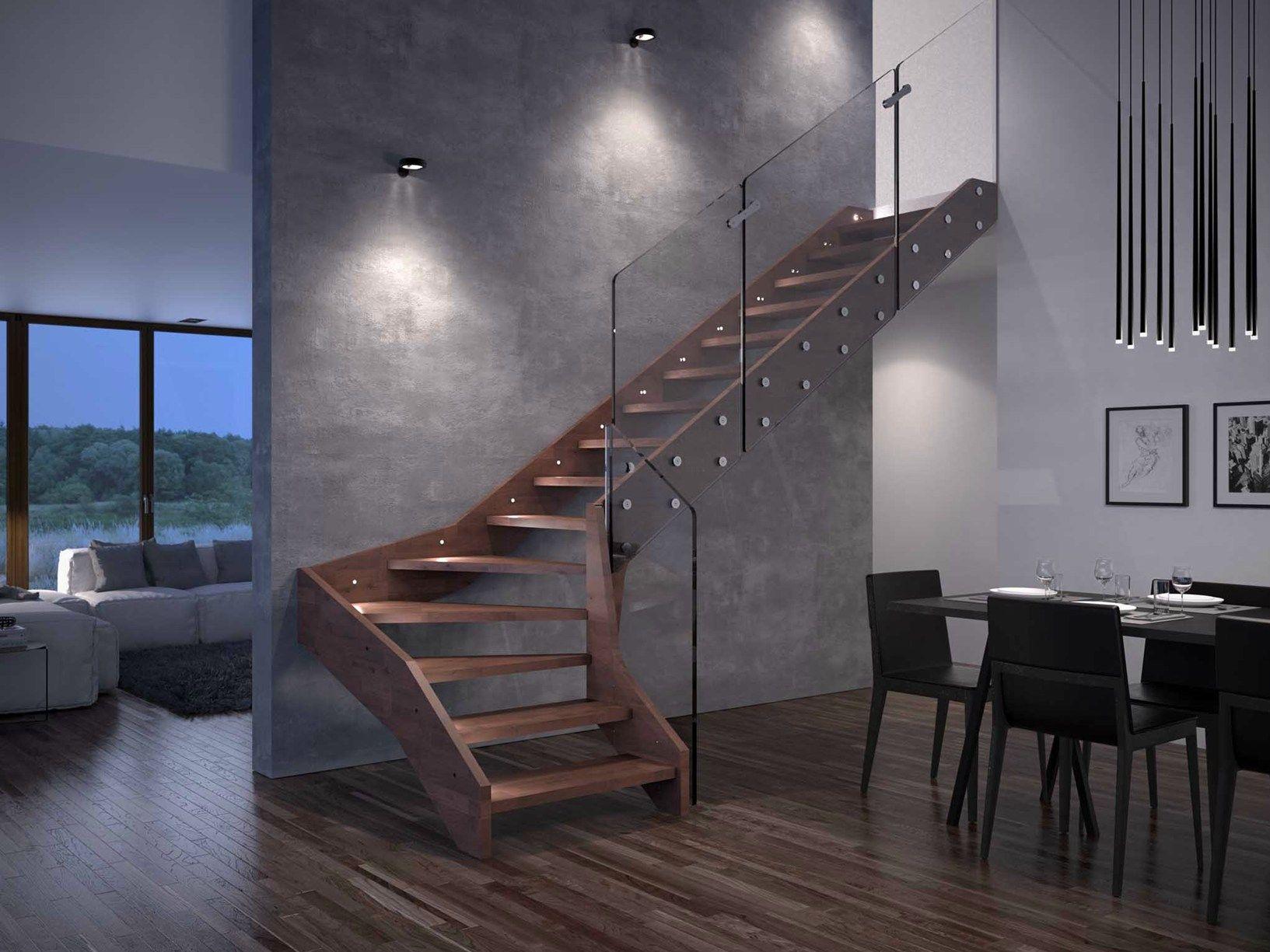 Scale Interne Con Cassetti visio by rintal: la scala interna che unisce legno e vetro