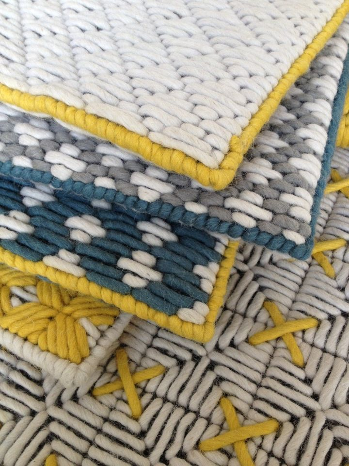 Wool woven on plastic lattice creates a hand-stitched look